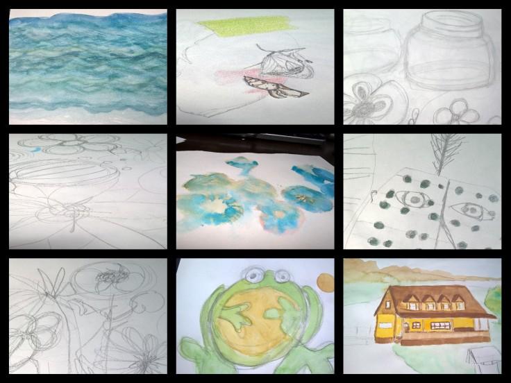 sketching collage